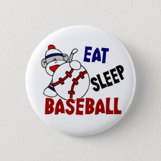 Eat Sleep Baseball Sock Monkey 6 Cm Round Badge