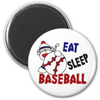 Eat Sleep Baseball Sock Monkey 6 Cm Round Magnet