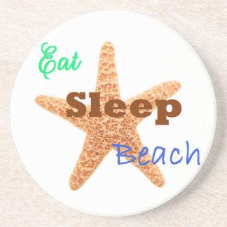 Eat Sleep Beach - Sandstone Coaster