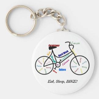 Eat, Sleep, BIKE! Fun Motivational Words for Biker Key Ring