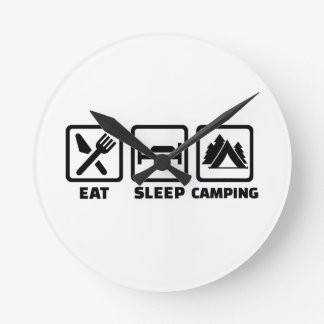 Eat sleep camping wallclock