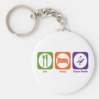 Eat Sleep Clean Teeth Basic Round Button Key Ring