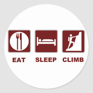 Eat Sleep Climb T-shirt and gift design Classic Round Sticker