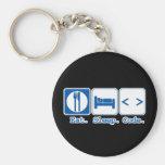 eat sleep code (html) basic round button key ring