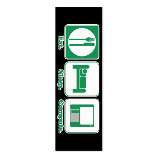 eat sleep computer (green) bookmark Double-Sided mini business cards (Pack of 20)