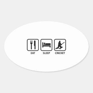 Eat Sleep Cricket Oval Sticker