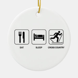 Eat Sleep Cross Country Ceramic Ornament