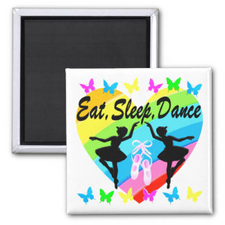 EAT, SLEEP, DANCE RAINBOW HEART AND BUTTERFLIES MAGNET