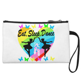 EAT, SLEEP, DANCE RAINBOW HEART AND BUTTERFLIES WRISTLET CLUTCH