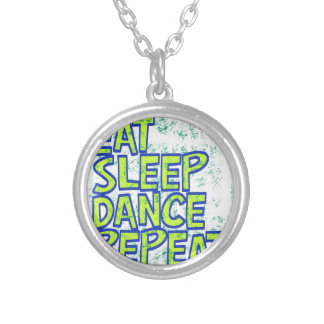 eat sleep dance repeat silver plated necklace