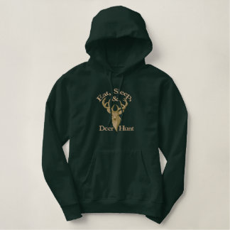 Eat Sleep Deer Hunt Embroidered Hoodie