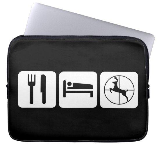 Eat Sleep Deer Hunt Funny Hunting Logo Laptop Sleeve