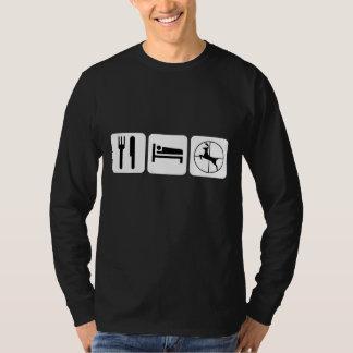 Eat Sleep Deer Hunt White on Black T-Shirt