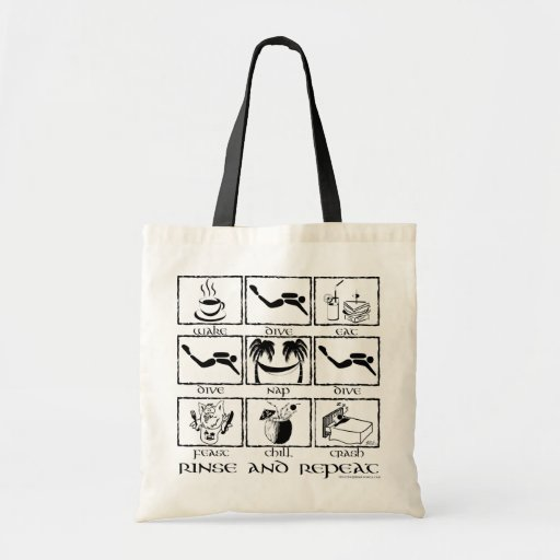 Eat Sleep Dive Rinse and Repeat Bags
