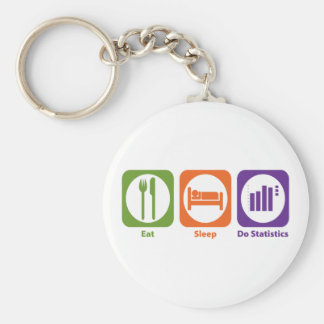 Eat Sleep Do Statistics Basic Round Button Key Ring
