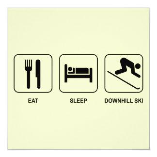 Eat Sleep Downhill Ski 5.25x5.25 Square Paper Invitation Card