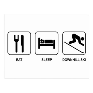 Eat Sleep Downhill Ski Postcard
