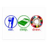 Eat Sleep Draw Postcard