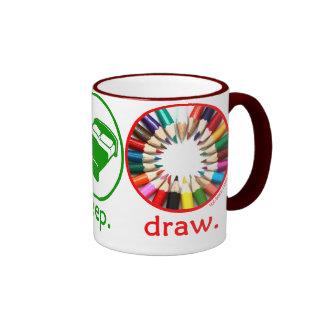 Eat Sleep Draw Ringer Coffee Mug