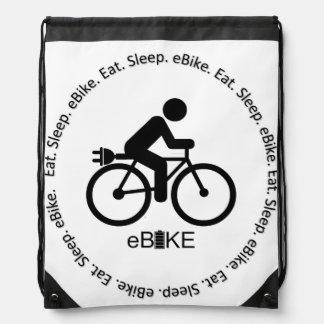 """""""Eat sleep ebike"""" custom drawstring bags"""