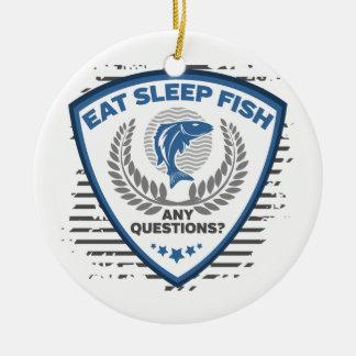 Eat Sleep Fish Any Questions Fishing Round Ceramic Decoration