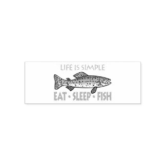 Eat Sleep Fish - Funny Saying Self-inking Stamp