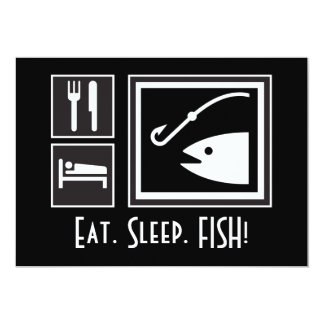 Eat Sleep FISH! You're invited on a Fishing Trip 13 Cm X 18 Cm Invitation Card