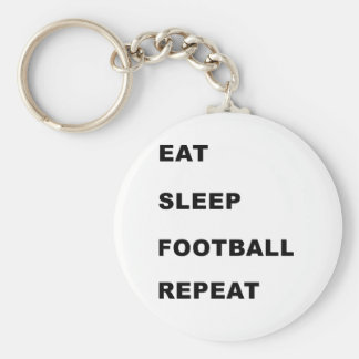 Eat, sleep, football, repeat. basic round button key ring