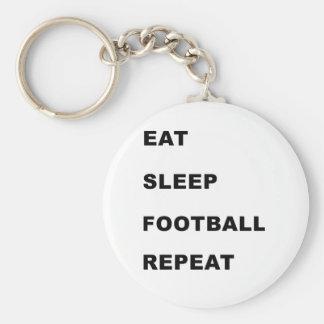 Eat, sleep, football, repeat. basic round button key ring