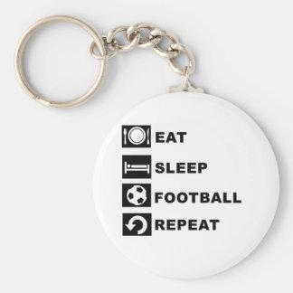 Eat sleep football repeat keychain
