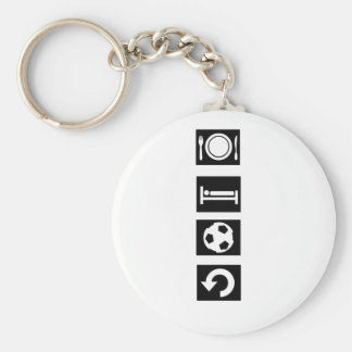 Eat sleep football repeat keychains