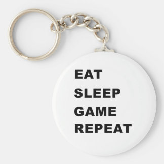 Eat, Sleep, Game, Repeat. Basic Round Button Key Ring