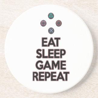 Eat sleep game repeat beverage coasters