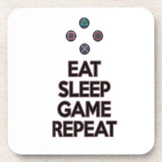 Eat sleep game repeat drink coasters