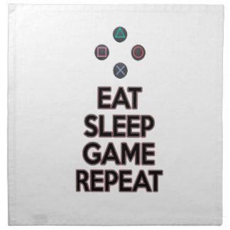 Eat sleep game repeat napkin