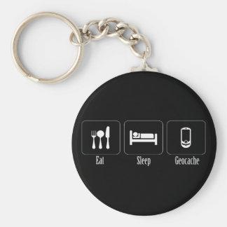 Eat, Sleep, Geocache Basic Round Button Key Ring