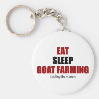 Eat sleep Goat farming Basic Round Button Key Ring