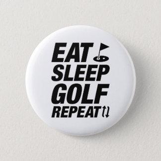 Eat Sleep Golf Repeat 6 Cm Round Badge