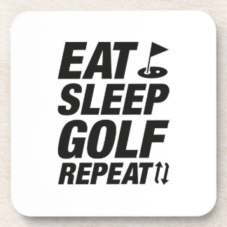 Eat Sleep Golf Repeat Beverage Coasters