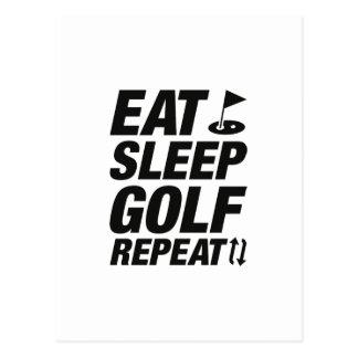 Eat Sleep Golf Repeat Postcard