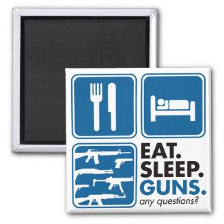 Eat Sleep Guns - Blue Refrigerator Magnet