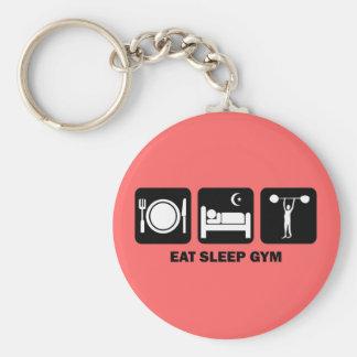 eat sleep gym basic round button key ring