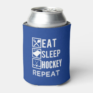 Eat Sleep Hockey Repeat funny mens hockey can Can Cooler