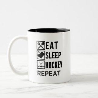 Eat Sleep Hockey Repeat funny mens hockey mug