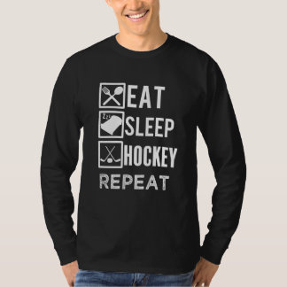 Eat Sleep Hockey Repeat funny mens hockey tshirt
