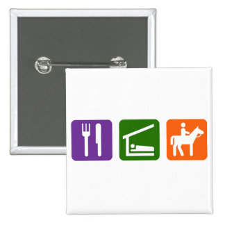 Eat Sleep Horseback Riding 15 Cm Square Badge