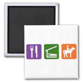 Eat Sleep Horseback Riding Square Magnet