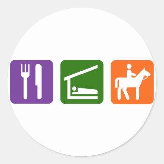 Eat Sleep Horseback Riding Round Sticker