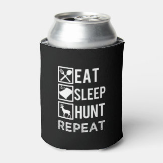 Eat sleep hunt repeat funny can cooler