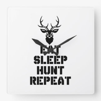 Eat Sleep Hunt Repeat Square Wall Clock